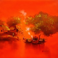 Dang Can, Red Sunset - ArtOfHanoi.com